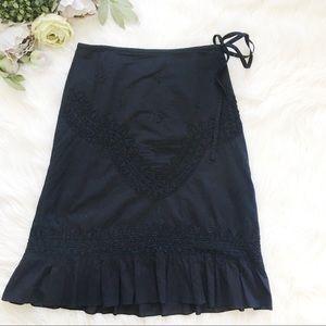 Anthropologie Odille Black Beaded Cotton Skirt