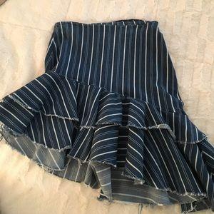 Denim Skirt Stripped Brand: Zara Size: xs