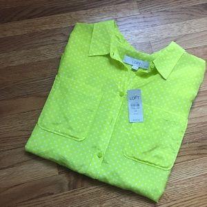 NWT LOFT Sheer button up blouse
