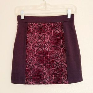 American Eagle Maroon Magenta Quilted Mini Skirt