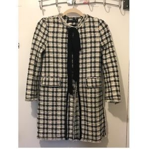 New Zara tweed coat with bow detail size S