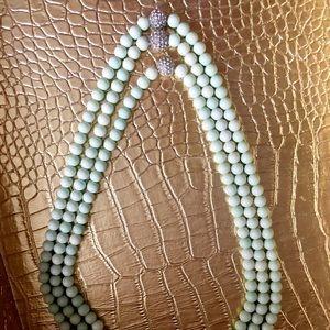 Light mint jeweled ball layered statement necklace