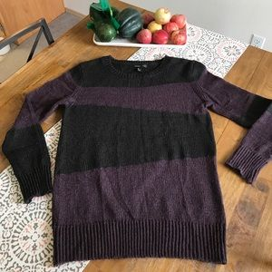 Mango Size Medium Black & Purple Crew Neck Sweater