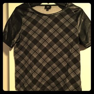 Mossimo black plaid top with pleather sleeves