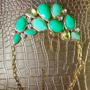 Various green & mint stone statement necklace