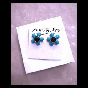 Anna & Ava Post Earrings turquoise & navy blue