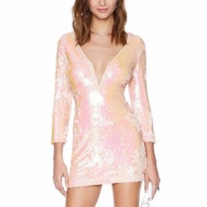 Nastygal blush sequin dress