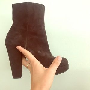 Yves Saint Laurent brown suede heeled boots