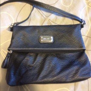 Black leather Nine West crossover purse