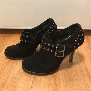 Black suede stud ankle bootie
