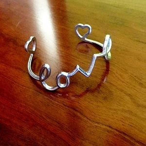 """Love"" scroll bangle bracelet"