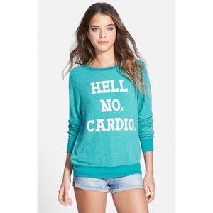 Wildfox Baggy Beach Sweatshirt Hell No Cardio, S