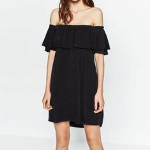 Zara off the shoulder black dress
