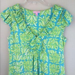 Lilly Pulitzer Green Floral Dress Sz M