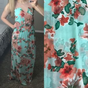 Lush maxi dress- teal & coral flowers