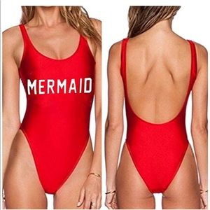 Other - Mermaid Red One Piece Monokini Baywatch Medium