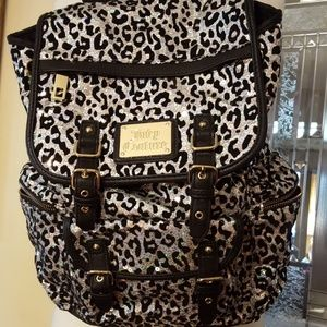 Juicy Couture silver leopard sequin backpack