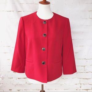 Kasper Red Blazer Size 12 Petite