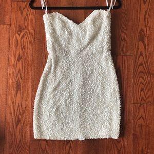 White Sequin-Pearl Mini Dress
