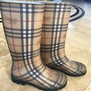 Gently used Burberry rain boots