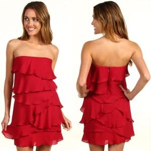 BCBG Max Azria Ruffled Tiered Strapless Dress