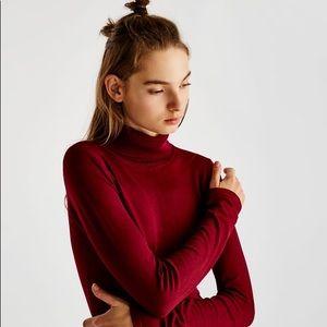 Zara Knit Burgundy Turtleneck
