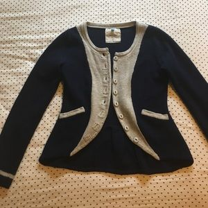 Gray and navy cardigan from Anthropologie