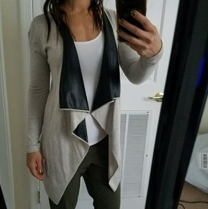 Zara Cardigan Feux Leather Lapel