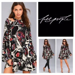 Free People Drift Away Black Floral Tunic.  NWT.