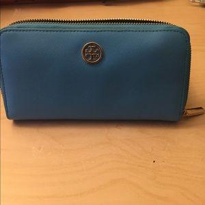 Tory Burch Aqua blue wallet