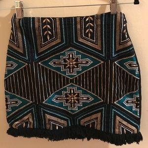 H&M beaded Aztec design mini skirt