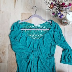UO Turquoise Blouse with Lace Back, XS