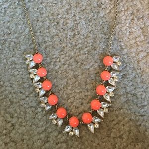 Orange and gold crystal J.Crew statement necklace