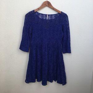 {Free People} Royal Blue Lace Dress