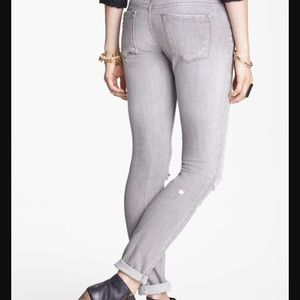 Free People Faded Gray Stretch Skinny Jeans 27