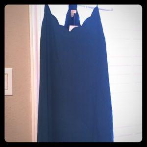 Blue-Green Scalloped J. Crew Dress
