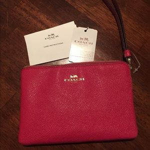 Coach Red pebble leather zipper wallet