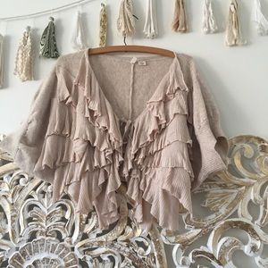 Anthropologie Moth Ruffle Front Cardigan