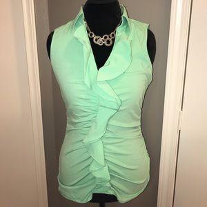 Sleeveless, ruffled color blouse