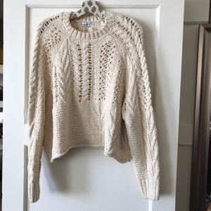 ✨ Zara Knit Cropped Open Knit Sweater