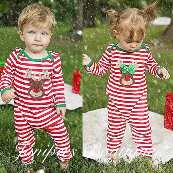 boutique baby girl christmas reindeer romper