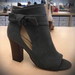 Zytao Grey Cut Out Knot Open Toe Bootie