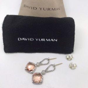 David Yurman Morganite Cushion Diamond Earrings