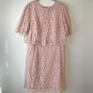 ASOS blush lace midi dress