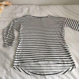 H&M Black and White Striped Basic Shirt