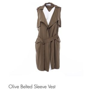 Olive waterfall coat with belt