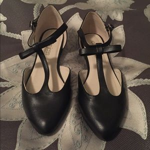 Black Cathy jean bow flats with ankle wrap