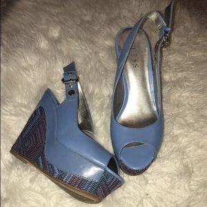 Blue peep-toe sling-back wedge leather shoes