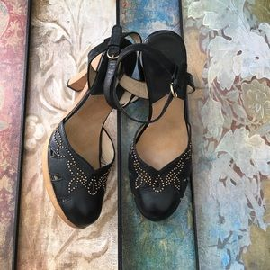 Michael Kors black clog style sandals w/gold beads