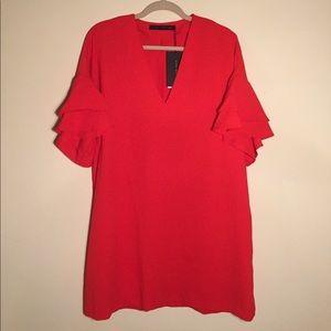 Zara Red Ruffle Sleeve Shift Dress